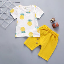 Load image into Gallery viewer, Pineapple Prints Toddler/Infant Clothing Set Short Sleeve shirt & yellow Pants - LittleTheoryCo