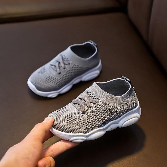 Kids Sneaker with Anti-Slip Rubber Bottom - Grey - LittleTheoryCo