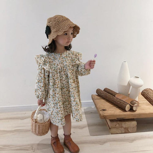 Yellow Floral long sleeve princess linen dress - LittleTheoryCo