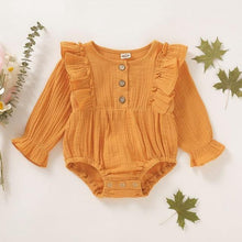 Load image into Gallery viewer, Autumn/Spring linen long sleeve Ruffle Romper - LittleTheoryCo