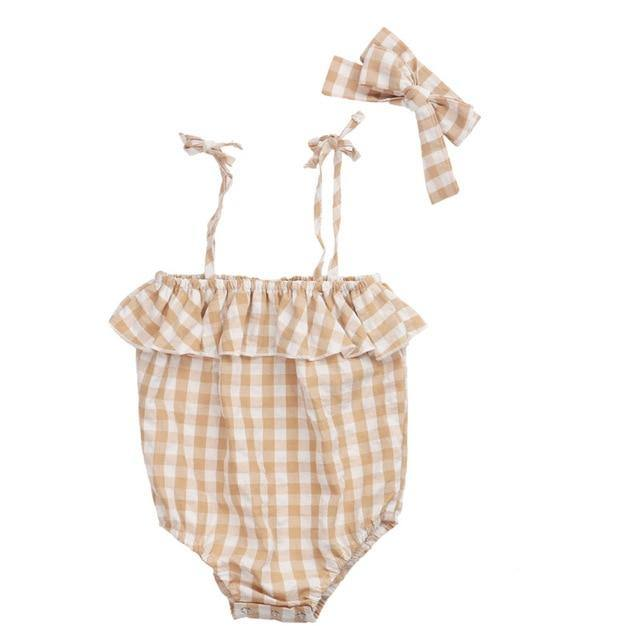 Limited Edition Summer Baby girl plaid design Romper - LittleTheoryCo