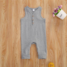 Load image into Gallery viewer, Grey Sleeveless V-Neck Baby Jumpsuit - LittleTheoryCo