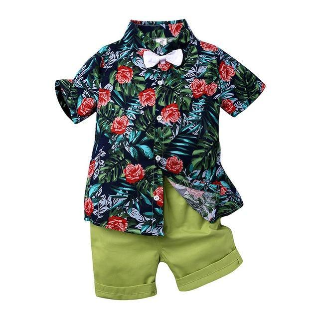 Stylish Infant/Toddler/Kids Floral Roses Print Shirt & Green Short Pant - LittleTheoryCo