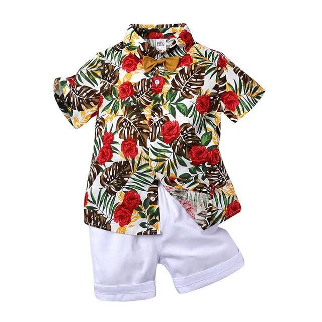 Stylish Infant/Toddler/Kids Floral Roses Print Shirt & White Short Pant - LittleTheoryCo