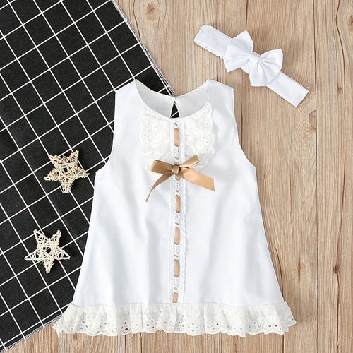 Infant Girl Dress with Bow - LittleTheoryCo
