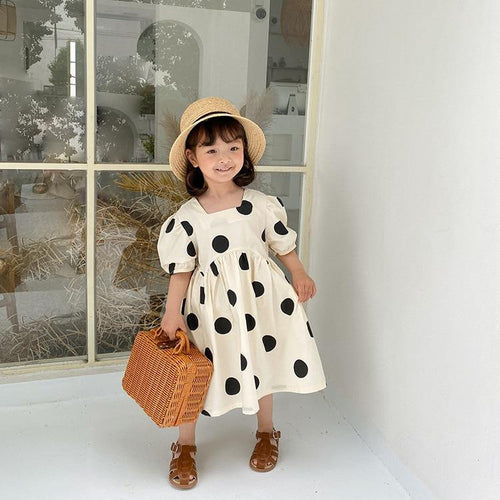 Korean Style dot square collar long princess dress - LittleTheoryCo
