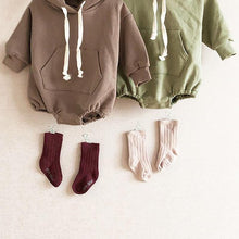 Load image into Gallery viewer, Brown Autumn Baby Bodysuit hoodie with bear ears - LittleTheoryCo
