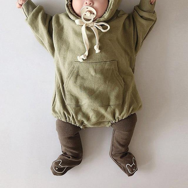 Green Autumn Baby Bodysuit hoodie with bear ears - LittleTheoryCo