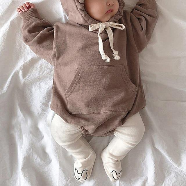 Brown Autumn Baby Bodysuit hoodie with bear ears - LittleTheoryCo