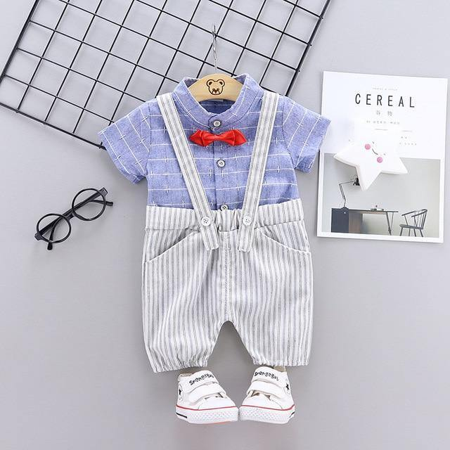 Toddler/Infant Blue Stripe Top & Gray Suspender Short set - LittleTheoryCo