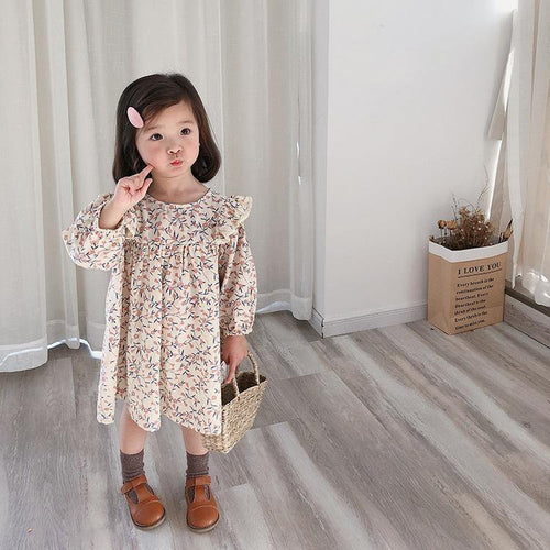 Pink Floral long sleeve princess linen dress - LittleTheoryCo