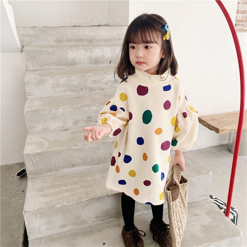 Autumn/Winter Style Colorful dot prints puff sleeve Dress - LittleTheoryCo