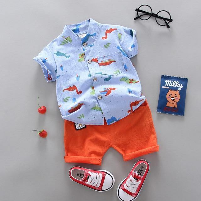 Sky blue shirt and orange pants Fashionable Summer Casual Boy Clothing 2pcs set - LittleTheoryCo