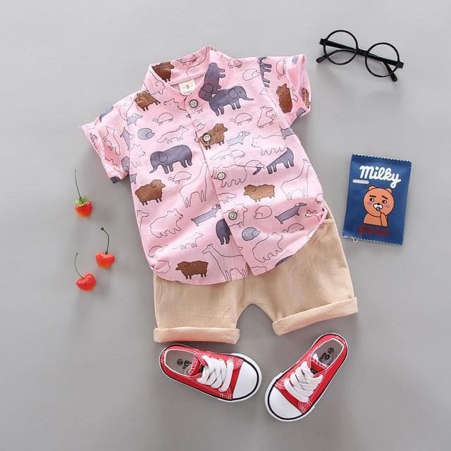 Pink Shirt and brown pants Fashionable Summer Casual Boy Clothing 2pcs set(animal prints) - LittleTheoryCo