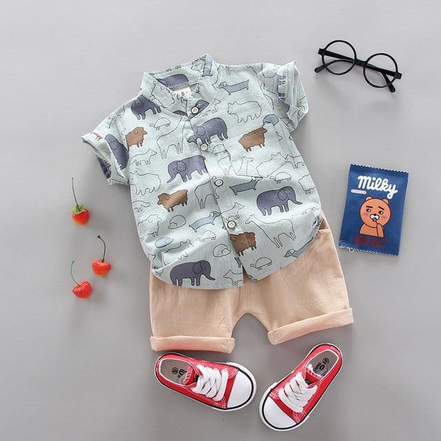 Teal Animal prints Fashionable Summer Casual Boy Clothing 2pcs set - LittleTheoryCo
