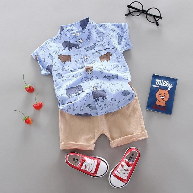 Blue shirt and brown pants with animal prints Fashionable Summer Casual Boy Clothing 2pcs set - LittleTheoryCo