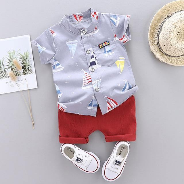 Fashionable Summer Casual Boy Clothing 2pcs set(with prints) - LittleTheoryCo