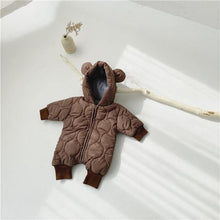 Load image into Gallery viewer, Brown Korean style warm baby romper(Cotton padded) - LittleTheoryCo