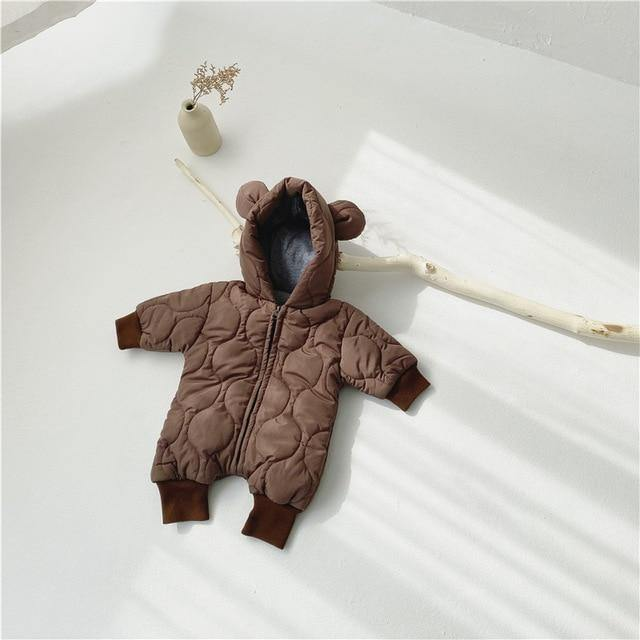 Brown Korean style warm baby romper(Cotton padded) - LittleTheoryCo