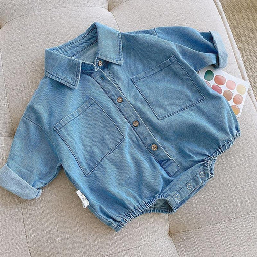 Spring/Autumn Denim Newborn Baby Boys Romper Fashion - LittleTheoryCo