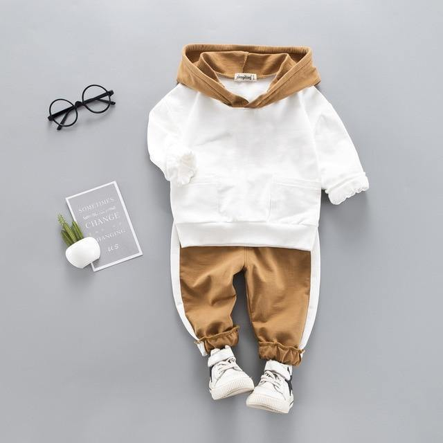 Stylish Baby Boy Clothing sets(T Shirt+Pants)- Brown and White - LittleTheoryCo