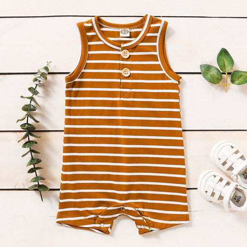 Classic Striped Sleeveless Romper(Brown) - LittleTheoryCo