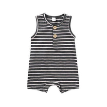 Load image into Gallery viewer, Classic Striped Sleeveless Romper(Black) - LittleTheoryCo