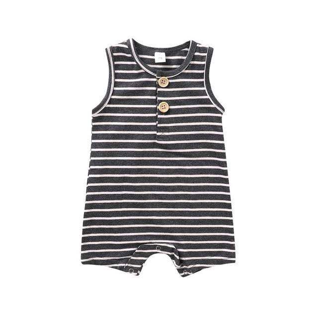 Classic Striped Sleeveless Romper(Black) - LittleTheoryCo
