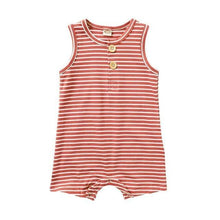 Load image into Gallery viewer, Classic striped Sleeveless Romper(Pink) - LittleTheoryCo
