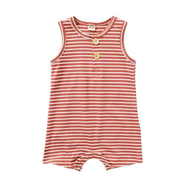 Classic striped Sleeveless Romper(Pink) - LittleTheoryCo