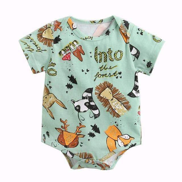 Summer style Baby Short Sleeve Romper with Animal Cartoon Prints(Green) - LittleTheoryCo