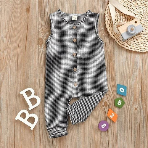 Summer Stylish Plaid Sleeveless Jumpsuit - LittleTheoryCo