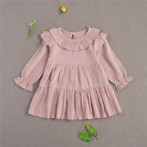Spring/Autumn Children ruffle long sleeve pink linen dress - LittleTheoryCo