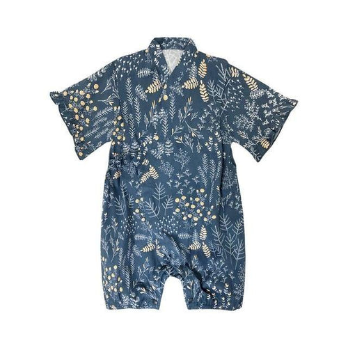 Blue with patterns Japanese Stylish Kimono Jumpsuit - LittleTheoryCo