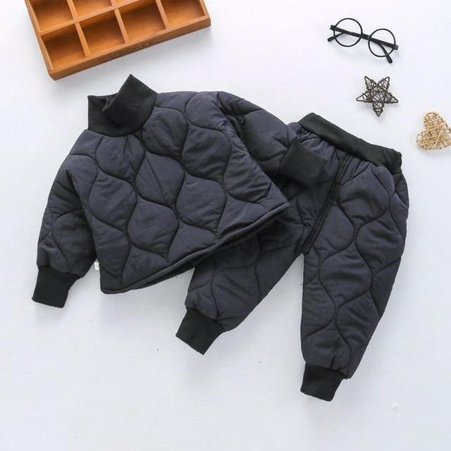 Dark Gray Fashionable thick winter turtleneck coat and Pants - LittleTheoryCo