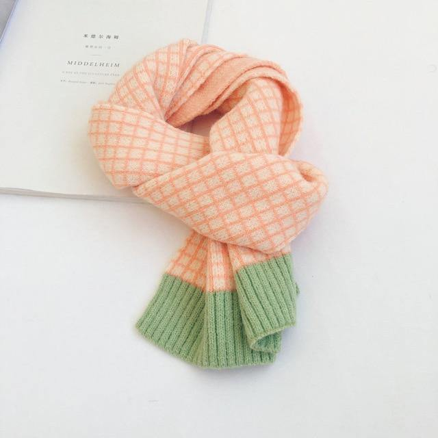 Korean Style High quality knitted wool plaid scarf - LittleTheoryCo