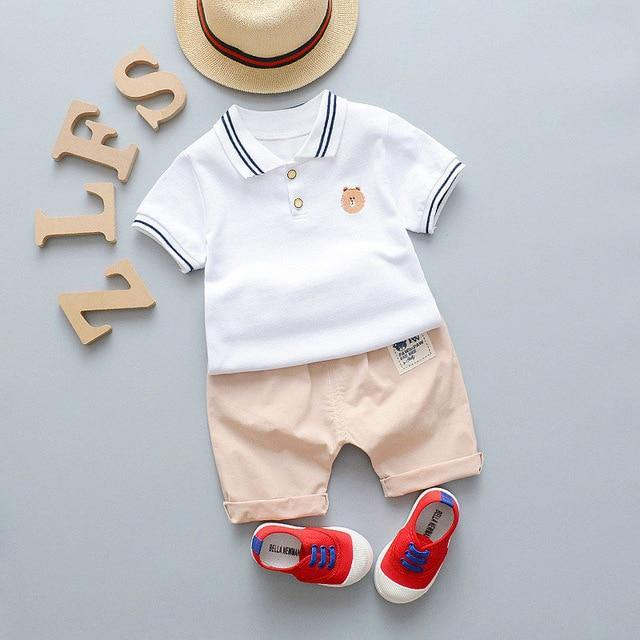 Infant/Toddler Summer Style White Polo Tee & Pant set - LittleTheoryCo