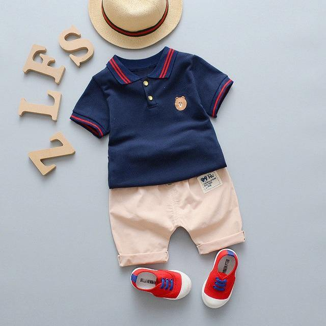 Infant/Toddler Summer Style Blue Polo Tee & Pant set - LittleTheoryCo