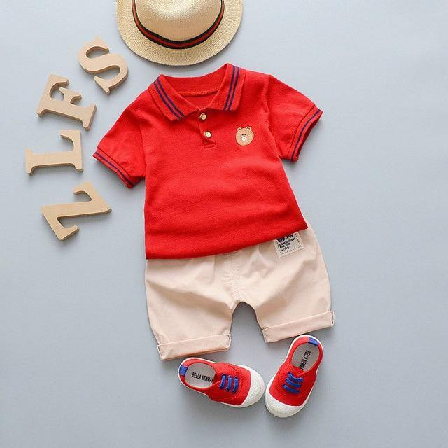Infant/Toddler Summer Style Red Polo Tee & Pant set - LittleTheoryCo