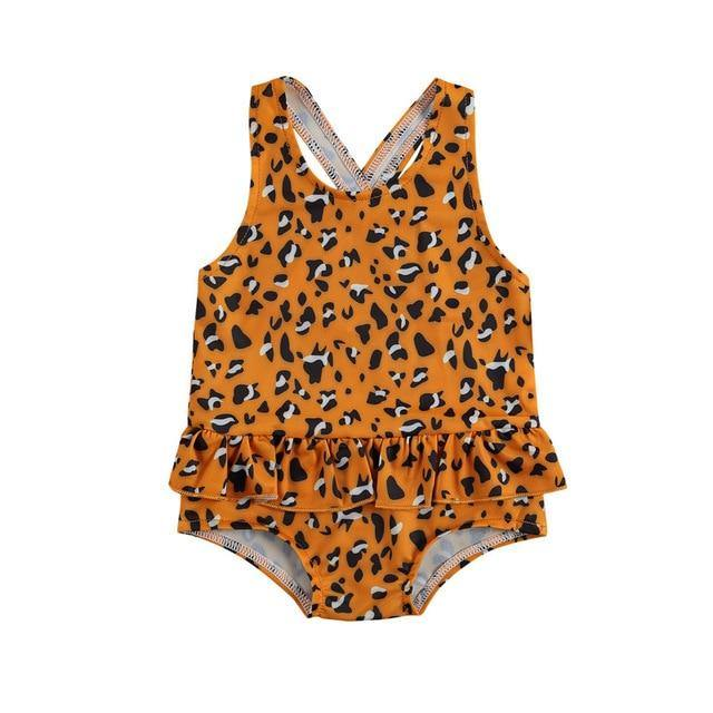 Orange with Prints One-Piece Beach Swim wear - LittleTheoryCo