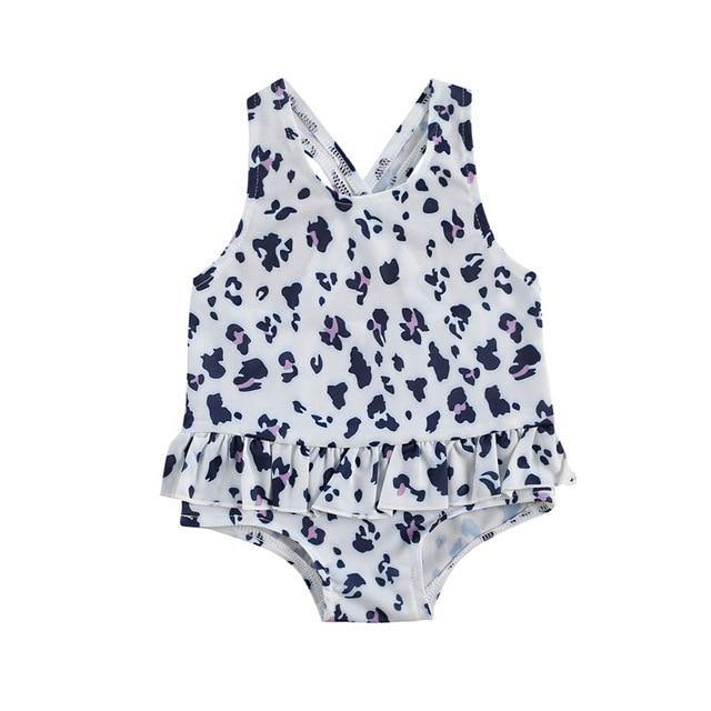 White with Prints One-Piece Beach Swim wear - LittleTheoryCo