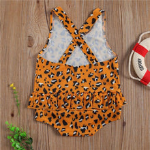 Load image into Gallery viewer, Orange with Prints One-Piece Beach Swim wear - LittleTheoryCo