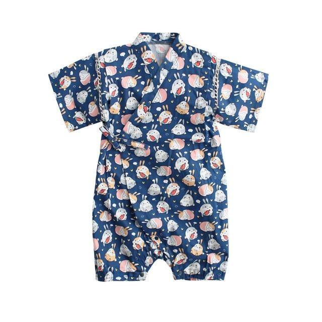 Japanese Stylish Kimono Jumpsuit(Rabbit Prints) - LittleTheoryCo