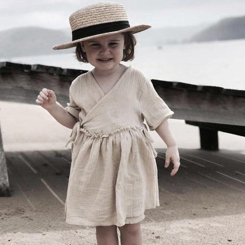 Baby girl dress Chic European Style Linen Clothing(Khaki) - LittleTheoryCo