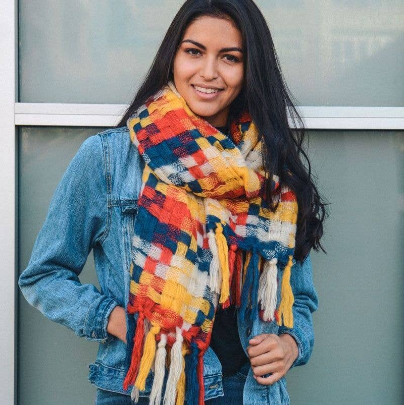 Multicolor Woven Patchwork Tassel Scarf