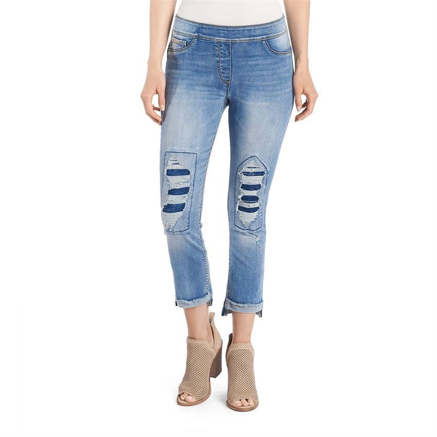 OMG Distressed Patchwork Boyfriend Capri - Light Denim