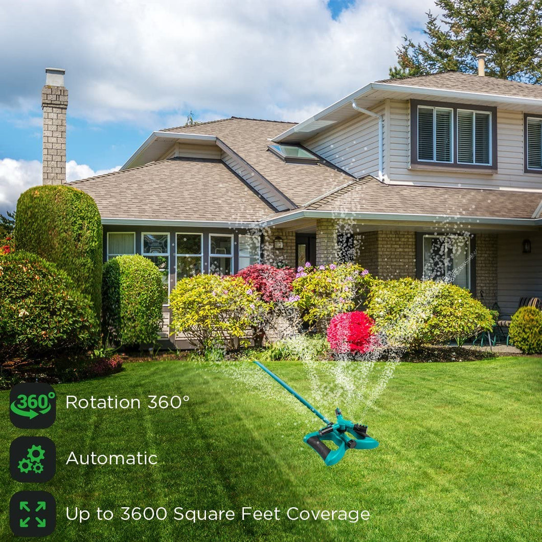 Rotating Lawn Sprinkler, Large Area Coverage Water Sprinklers for Lawns and Gardens