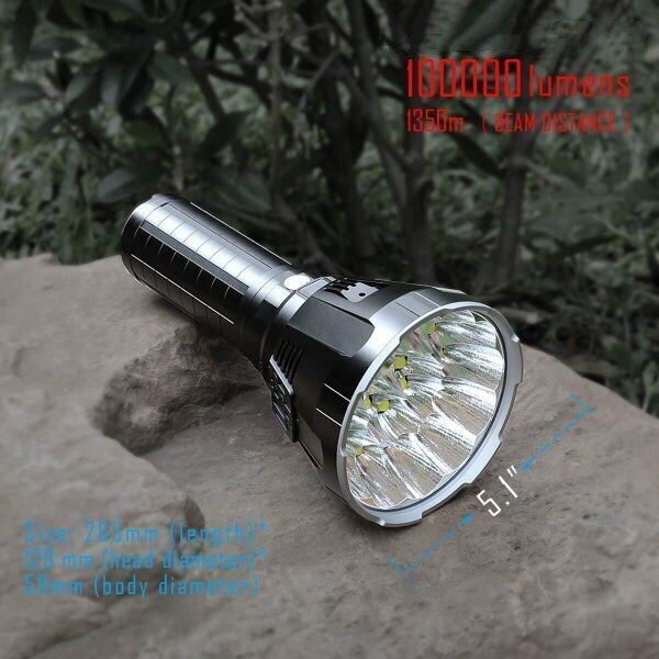 30000-100000 Lumen Big Flashlight High Power LED XHP70 Waterproof Flash Light