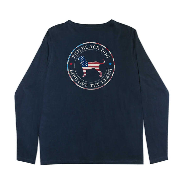 KIDS FLAG DOG CIRCLE LS TEE