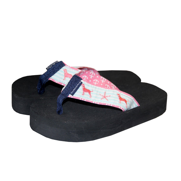 KIDS SEERSUCKER EMBROIDERED SANDAL